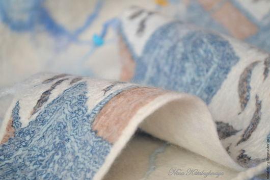 Шарфы и шарфики ручной работы. Ярмарка Мастеров - ручная работа. Купить Двусторонний валяный шарф-бактус ДЖИНС. Handmade. Валяние