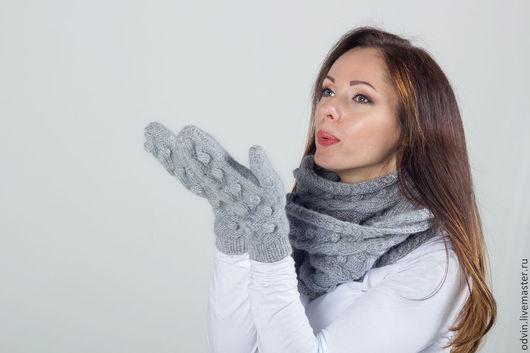 """Комплекты аксессуаров ручной работы. Ярмарка Мастеров - ручная работа. Купить Комплект вязаный """"Лесная фея"""", шарф вязаный и варежки вязаные. Handmade."""