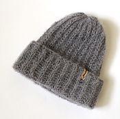 Аксессуары handmade. Livemaster - original item Knitted gray mohair cap with lurex. Handmade.