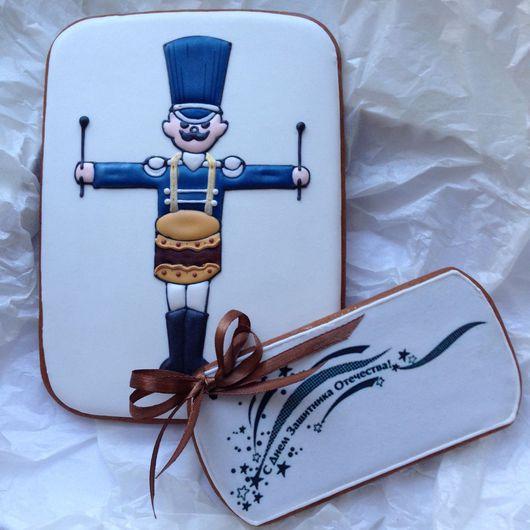 Кулинарные сувениры ручной работы. Ярмарка Мастеров - ручная работа. Купить Пряничная открытка ко Дню защитника отечества. Handmade.