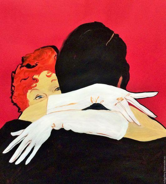 """Люди, ручной работы. Ярмарка Мастеров - ручная работа. Купить """"Галя, Галя..."""" Картина.. Handmade. Ярко-красный, любовь"""
