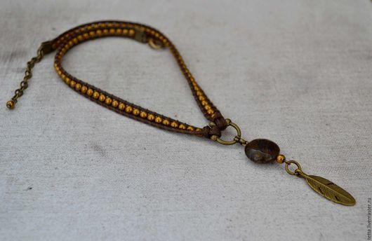 Колье, бусы ручной работы. Ярмарка Мастеров - ручная работа. Купить Колье в стиле бохо - плетеный шнурок с подвеской из бронзита. Handmade.
