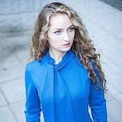 Одежда handmade. Livemaster - original item New for autumn Jersey Dress with bow - Blue. Handmade.