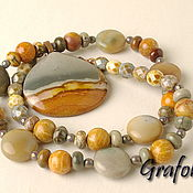 Necklace handmade. Livemaster - original item Long Jasper beads with pendant. Handmade.