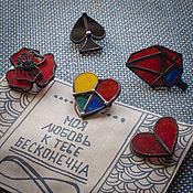 Brooches handmade. Livemaster - original item Glass Brooch Polygonal heart on Valentine`s day. Handmade.