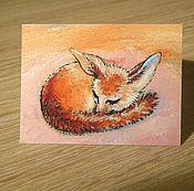 """Открытки ручной работы. Ярмарка Мастеров - ручная работа открытка """"Лисенок - мини"""" (1). Handmade."""