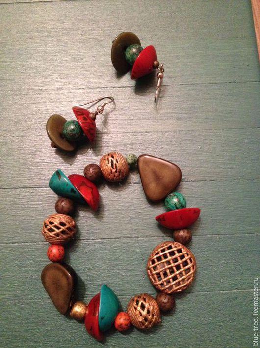"""Браслеты ручной работы. Ярмарка Мастеров - ручная работа. Купить Браслет """" Тагуа с латунью"""".. Handmade. Разноцветный, дерево buri"""