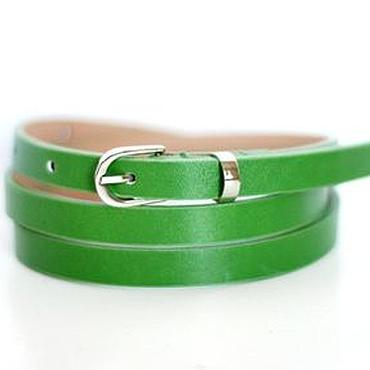 Аксессуары ручной работы. Ярмарка Мастеров - ручная работа Узкий кожаный ярко-зеленый ремень. Handmade.