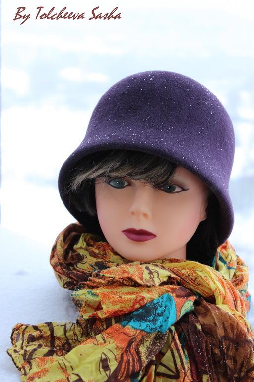 Шляпы ручной работы. Ярмарка Мастеров - ручная работа. Купить Зимняя слива . Женская шляпка. Handmade. Тёмно-фиолетовый, клош