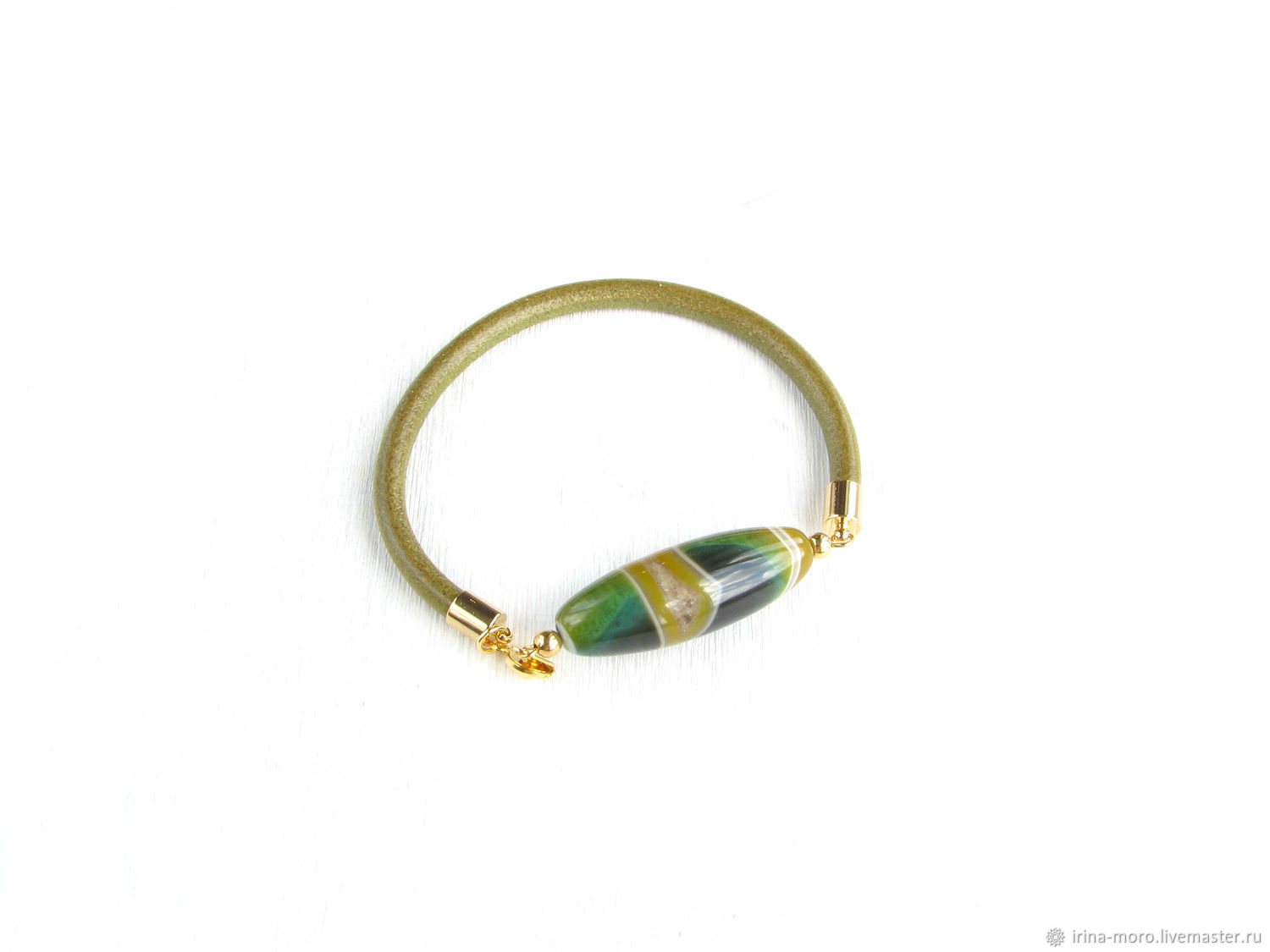 Green leather bracelet with agate olive bracelet with stone, Bracelets, Moscow, Фото №1