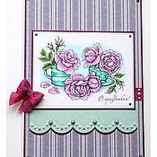 Открытки ручной работы. Ярмарка Мастеров - ручная работа Открытка с сиреневыми розами. Handmade.