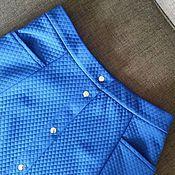"""Одежда ручной работы. Ярмарка Мастеров - ручная работа Юбка на кнопках, шестиклинка, трикотаж """"стёжка"""", индиго. Handmade."""