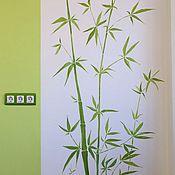 Дизайн и реклама ручной работы. Ярмарка Мастеров - ручная работа Роспись стен, бамбук, ветви, салатовый,оформление кухни, детская. Handmade.