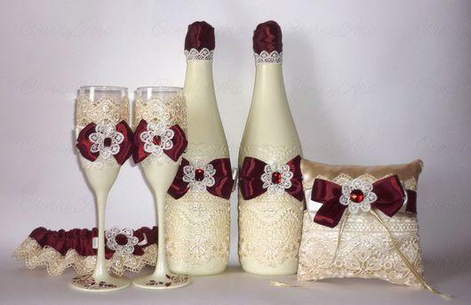 Свадебные аксессуары ручной работы. Ярмарка Мастеров - ручная работа. Купить Свадебный набор цвета марсала Брызги Сицилии. Handmade.