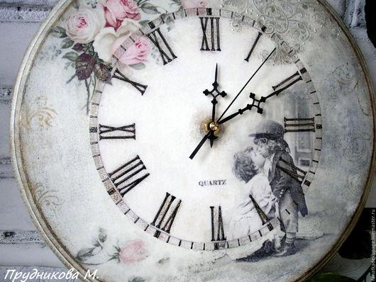 """Часы для дома ручной работы. Ярмарка Мастеров - ручная работа. Купить Часы """" Поцелуй нежной Розы 3"""". Handmade."""