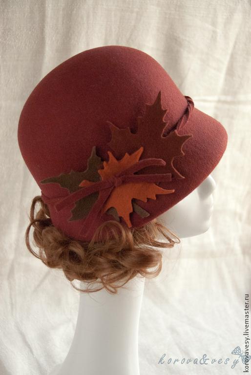 """Шляпы ручной работы. Ярмарка Мастеров - ручная работа. Купить Шляпка-клош """"Кленовый букет"""". Handmade. Коричневый, шляпка, клош"""