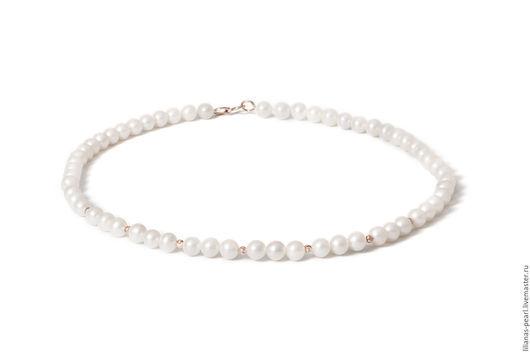 Колье, бусы ручной работы. Ярмарка Мастеров - ручная работа. Купить Ожерелье из белого речного жемчуга 7,0-7,5мм АА с золотом 585. Handmade.