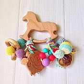 Куклы и игрушки ручной работы. Ярмарка Мастеров - ручная работа Буковый грызунок Лошадка с подвесками из разных бусин (1). Handmade.