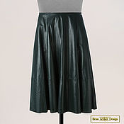 Одежда handmade. Livemaster - original item Bell skirt made of genuine leather (dark green). Handmade.