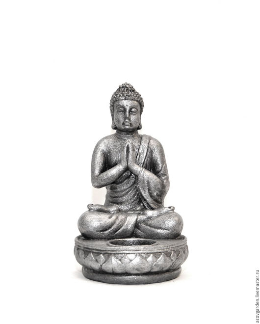 Статуэтки ручной работы. Ярмарка Мастеров - ручная работа. Купить Статуэтка-подсвечник Будда  из бетона, под бронзу, серебро, камень. Handmade.