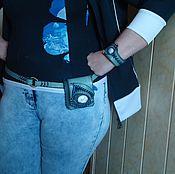 """Аксессуары ручной работы. Ярмарка Мастеров - ручная работа """"Лунная мелодия"""" мини-сумка на пояске и браслет.. Handmade."""