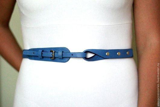 """Пояса, ремни ручной работы. Ярмарка Мастеров - ручная работа. Купить Кожаный ремень """"Лагуна"""" (синий), кожаный пояс. Handmade."""
