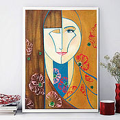 Картины и панно handmade. Livemaster - original item gift sister, Sisters, stylized portrait. Painting acrylic. Handmade.
