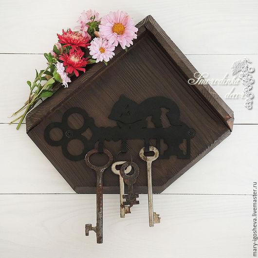 Прихожая ручной работы. Ярмарка Мастеров - ручная работа. Купить Ключница-вешалка Key&Cat. Handmade. Вешалка для ключей, ключница