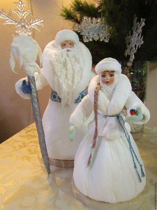 Коллекционные куклы ручной работы. Ярмарка Мастеров - ручная работа. Купить Большой ватный Дед Мороз и Снегурочка под елку. Handmade.