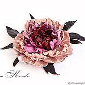 Украшения handmade. Livemaster - original item Leather flowers Royal Peony Marsala Brooch in gift large. Handmade.
