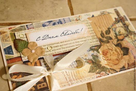 Конверты для денег ручной работы. Ярмарка Мастеров - ручная работа. Купить Открытка-конверт на свадьбу. Handmade. Бежевый, медовый месяц