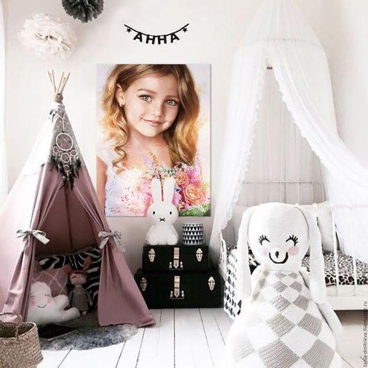 интерьер, оформление интерьера, портрет по фото, портрет в подарок, портрет на заказ, картина в подарок, оформление стен, интерьер, дизайн интерьера, детский портрет