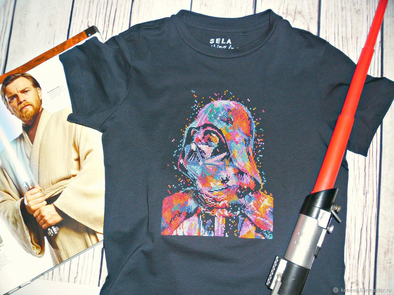 Детская футболка с ручной вышивкой Дарт Вейдер, Футболки и топы, Благовещенск,  Фото №1