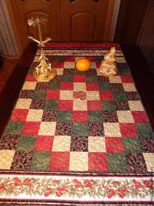 Текстиль, ковры ручной работы. Ярмарка Мастеров - ручная работа. Купить Новогодняя дорожка на стол. Handmade. Пэчворк, шелковые нитки