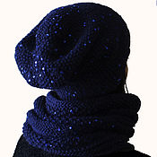 Аксессуары handmade. Livemaster - original item The kit cowl and hat blue sequins with