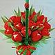 """Букеты ручной работы. Ярмарка Мастеров - ручная работа. Купить Букет из конфет """"Красные тюльпаны"""" с Раффаелло. Handmade. Ярко-красный"""