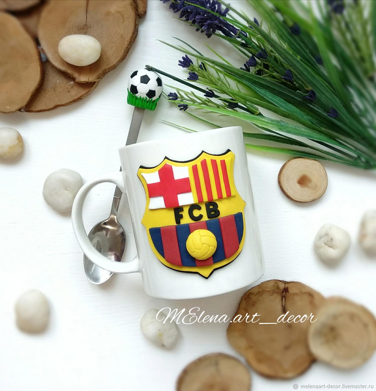 Набор кружка и ложка с декором Барселона логотип футбольного клуба, Кружки, Старый Оскол,  Фото №1