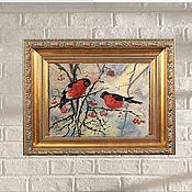 Картины и панно handmade. Livemaster - original item Paintings: red yellow blue white winter frosty. Handmade.