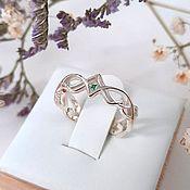 Свадебный салон handmade. Livemaster - original item Women`s Ring with Silver and Emerald (Ob33). Handmade.