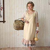 Одежда ручной работы. Ярмарка Мастеров - ручная работа Льняное платьице с оборкой. Handmade.