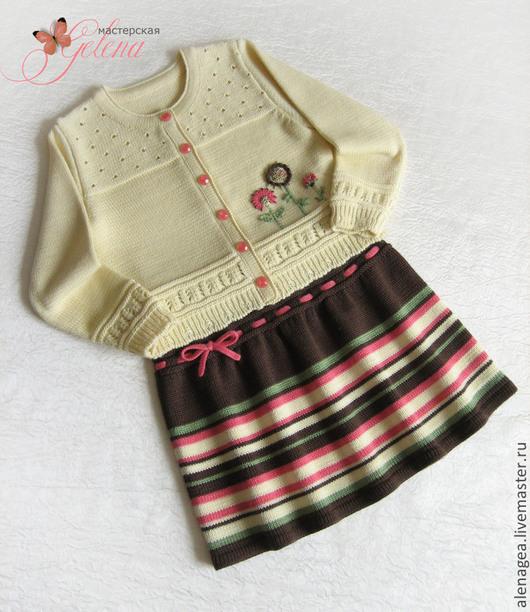 """Одежда для девочек, ручной работы. Ярмарка Мастеров - ручная работа. Купить Комплект для девочки """"Солнечно-шоколадный"""" (кофта и юбочка). Handmade."""