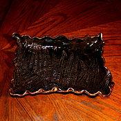 Посуда handmade. Livemaster - original item Rectangular Ceramic Dish Chocolate Fern Leaf.. Handmade.