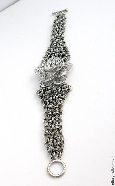 """Браслеты ручной работы. Ярмарка Мастеров - ручная работа. Купить Браслет металлический плетеный с цветком филигрань """"Флер"""". Handmade."""