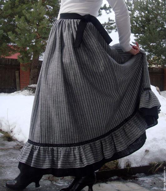 Одежда ручной работы. Ярмарка Мастеров - ручная работа. Купить Льняная юбка в стиле кантри. Handmade. Темно-серый, винтаж
