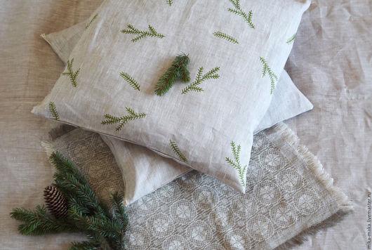 Текстиль, ковры ручной работы. Ярмарка Мастеров - ручная работа. Купить Наволочка. Handmade. Бежевый, елка, наволочка на подушку