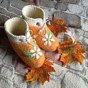 """Обувь ручной работы. Ярмарка Мастеров - ручная работа """"Ромашечки"""". Валеночки.. Handmade."""