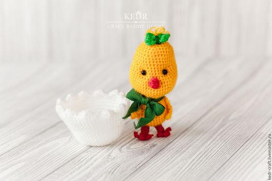 """Игрушки животные, ручной работы. Ярмарка Мастеров - ручная работа. Купить цыпленок """"Мила"""" желтая вязаная мягкая игрушка. Handmade."""