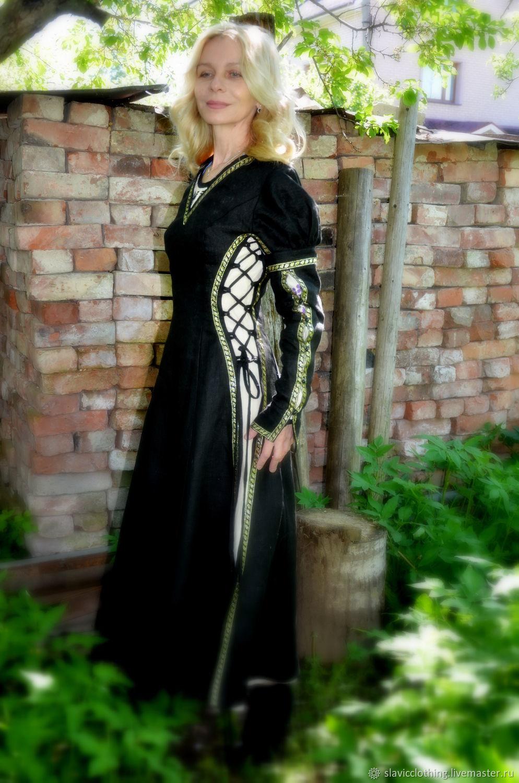 Платья ручной работы. Ярмарка Мастеров - ручная работа. Купить Верхнее черное платье. Handmade. Ролевой костюм, лён 100%