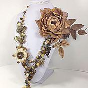 Украшения handmade. Livemaster - original item Garden Caramel Butterflies. Necklace, brooch flower, brooch order.. Handmade.