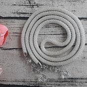 Украшения ручной работы. Ярмарка Мастеров - ручная работа Жгут-лариат из бисера Серебристый. Handmade.